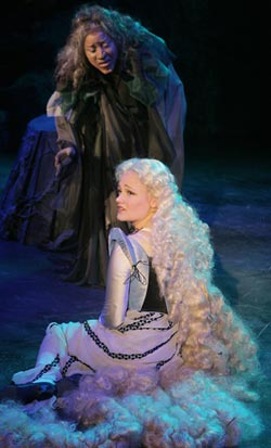 Erin Driscoll as Rapunzel and Eleasha Bamble as the Witch, photo by Carol Pratt